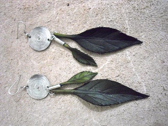 Leaf and Metal Earings