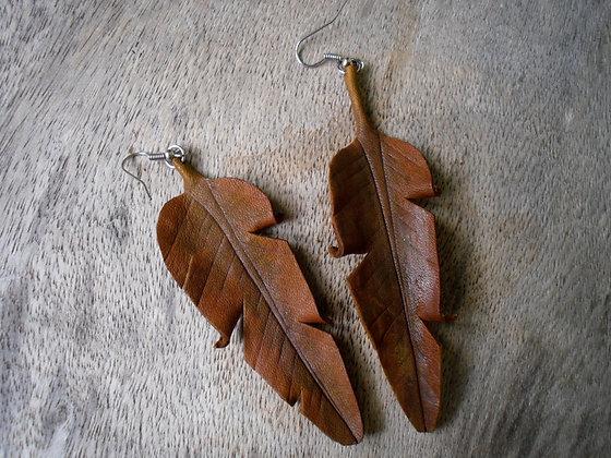 Brown Banana Leaf Earings