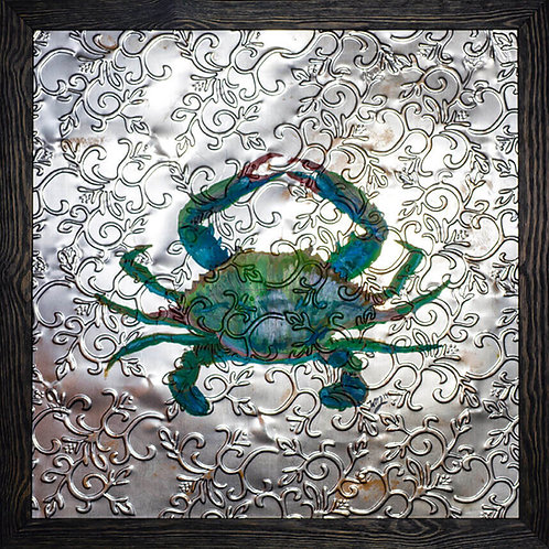 Blue Crab on Reclaimed Ceiling Tile