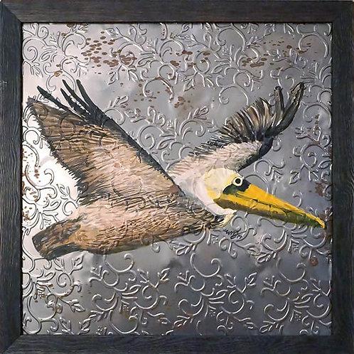 Brown Pelican in Flight on Reclaimed Ceiling Tile