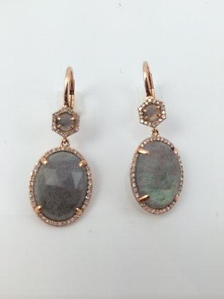 Labradorite, Diamonds & Rose Gold