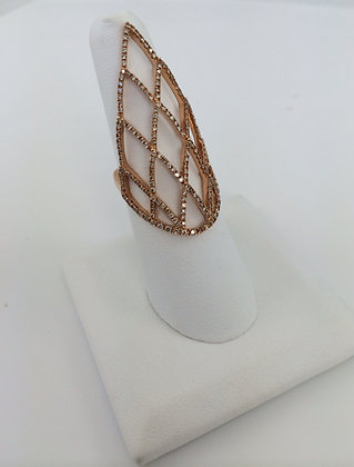 Rose Gold & Diamond Shield Ring