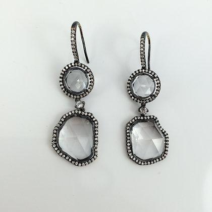 White Topaz, Diamonds & Black Rhodium