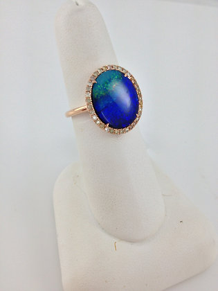 Yellow Gold Opal and Diamonds