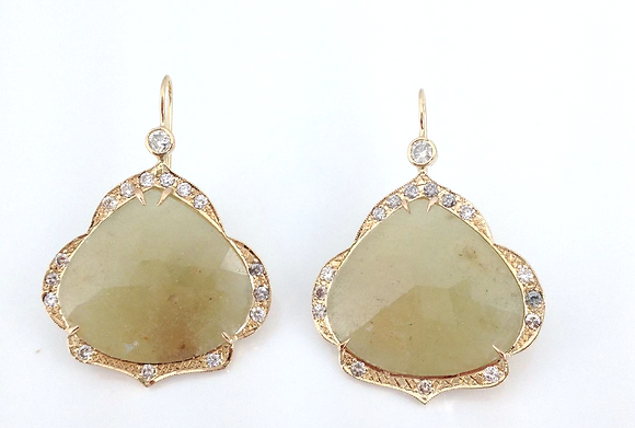 Yellow Sapphire and Diamond Scallop Earrings