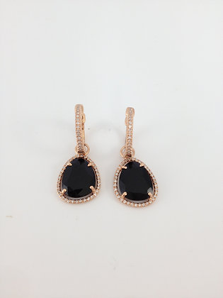 Rose Gold, Diamond and Onyx Drop Earrings