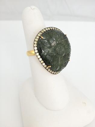 Carved Tourmaline and Diamonds