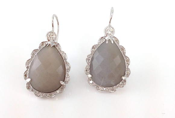Moonstone and Diamond Scallop Earrings