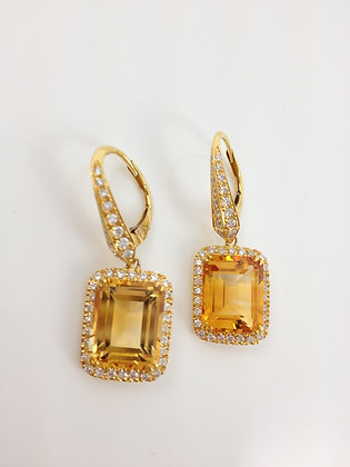 Emerald shape Citrine and Diamond Earrings