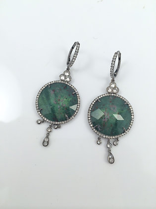 Green Tourmaline & Diamonds