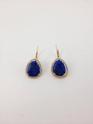 Lapis and Diamond Drop Earrings