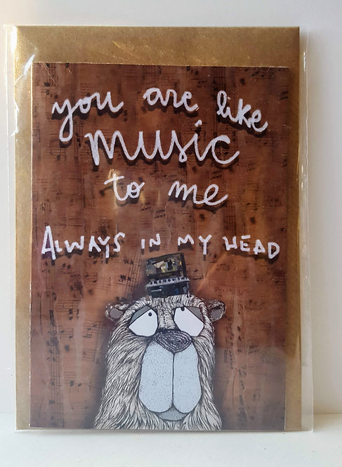 you are like music tome, always in my head - A6 Greeting Card