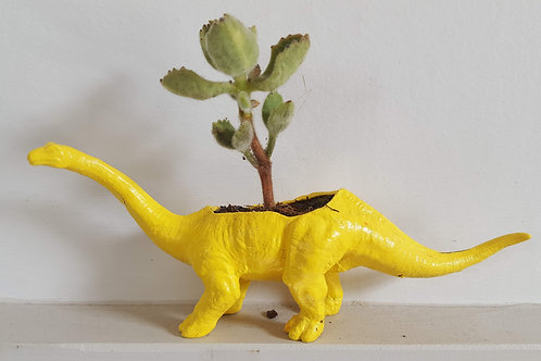 Yellow Brontosaurus Planter
