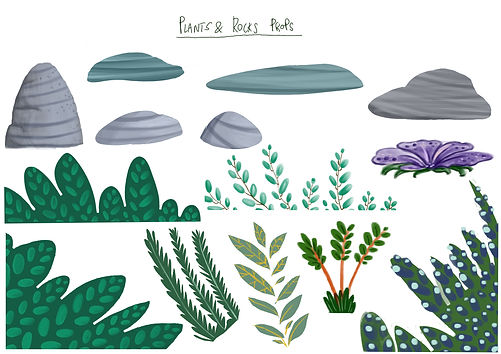 plants and rocks props