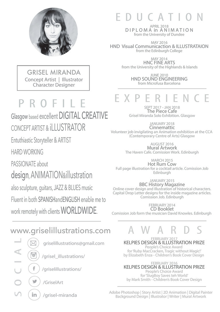 Grisel illustration's CV,  Dunndee Animation degree,  HNC illustration Edinburgh animatiGlasgow, illustrator, education, profile, experience, social, awards. GLASGOW Illustrator artist art shop gift shop glasgow based artist glasgow based illustrator gift shop art shop glasgow