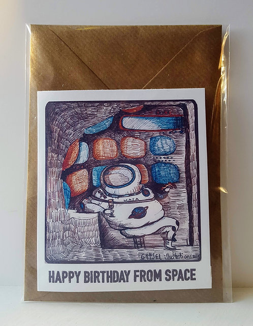 Happy Birthday from Space - A6 Greeting card