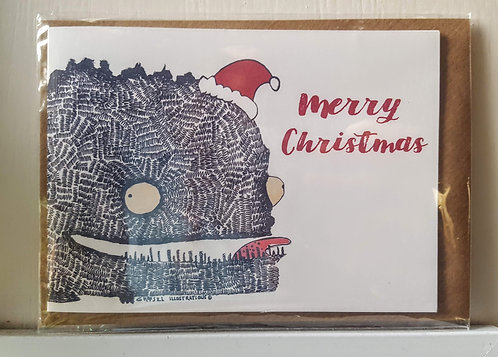 Scribbly Monster Merry Christmas A6 Card