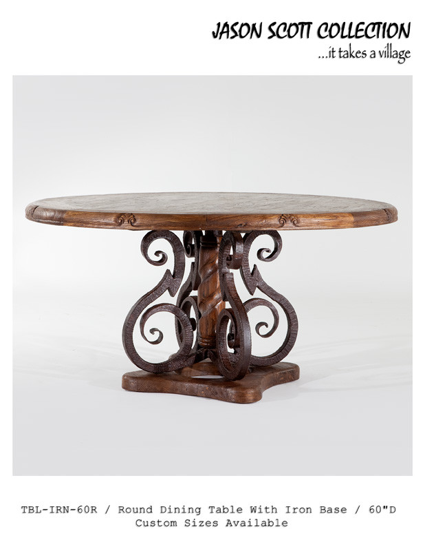 Jason Scott Round Dining Table with Iron Base