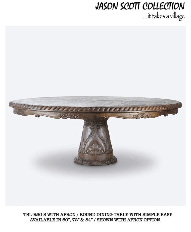 Jason Scott Round Dining Table with Simple Base and Apron