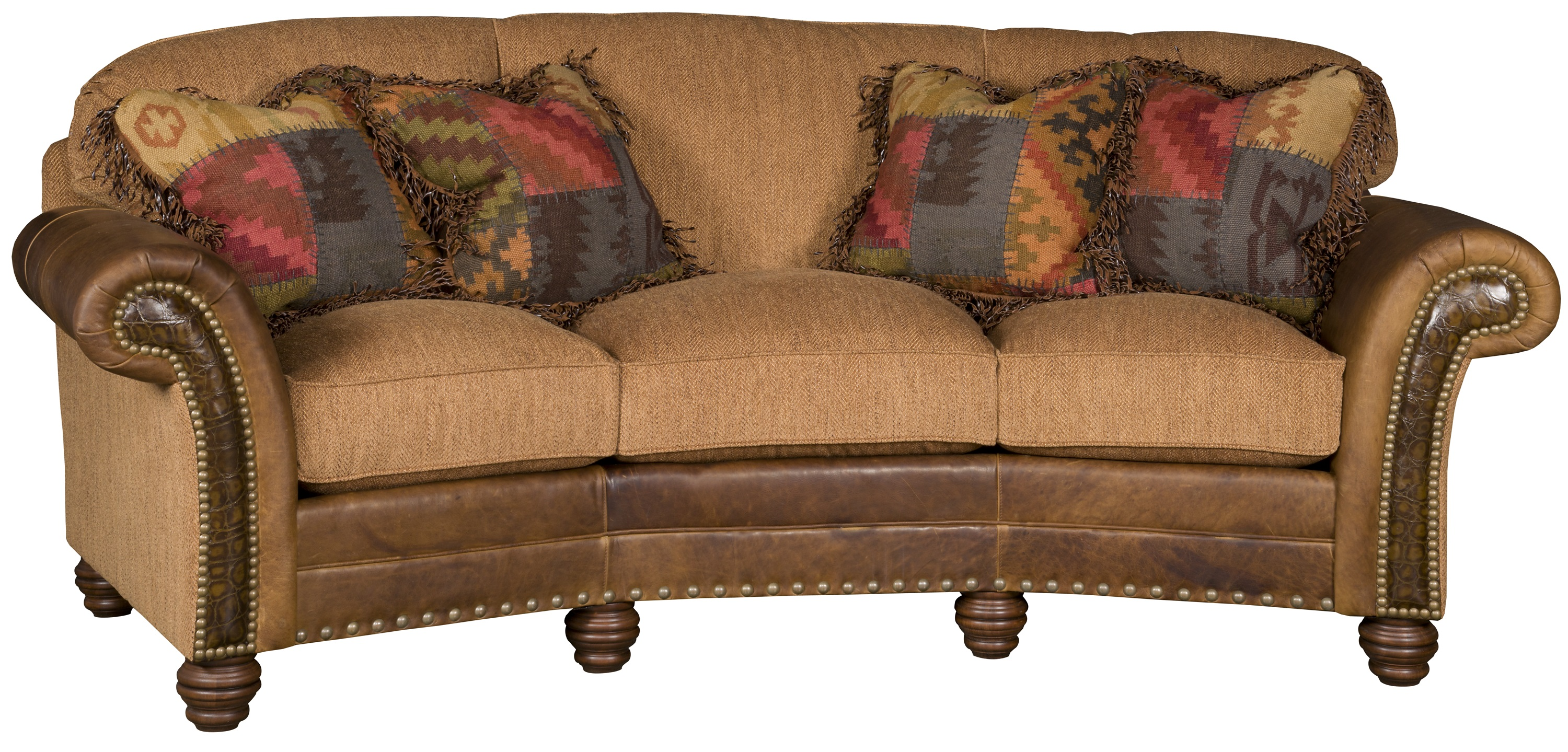 Tuscan Fabric and Leather Sofa