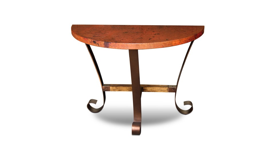 Southwest Copper Half Moon End Table