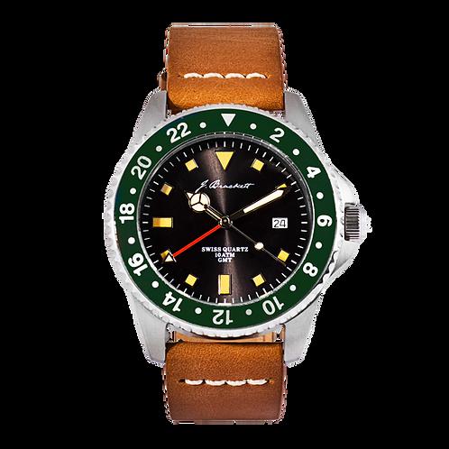 GREENWICH - Black w/ Green Bezel - Tan Leather