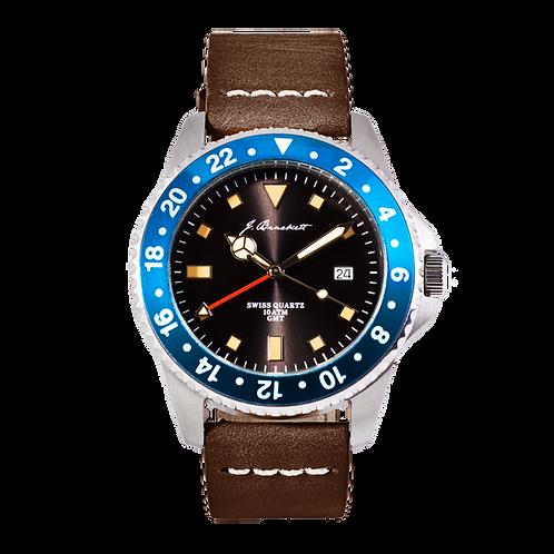 GREENWICH - Black w/ Blue Bezel - Dark Brown Leather