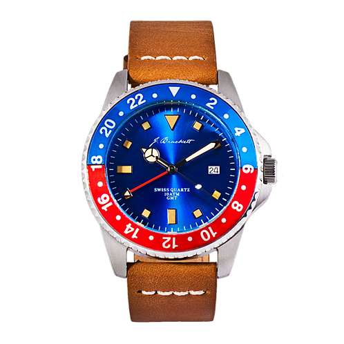 GREENWICH - Blue w/ Blue & Red Bezel - Tan Leather