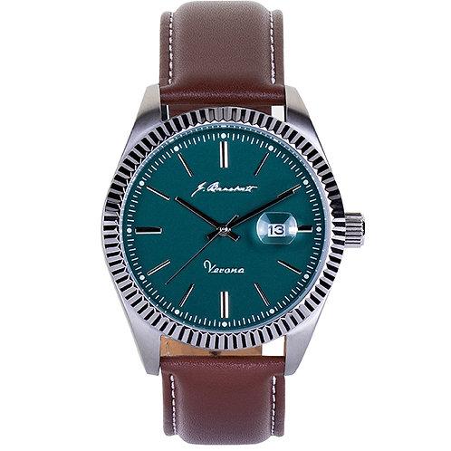 VERONA - Green - Brown Leather