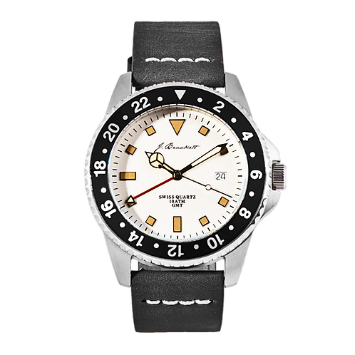 GREENWICH - White w/ Black Bezel - Black Leather