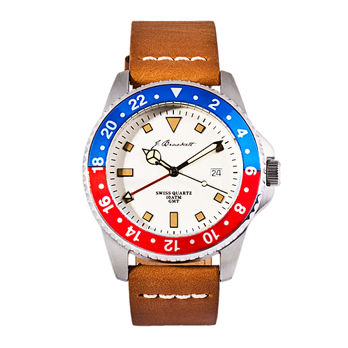 GREENWICH - White w/ Blue & Red Bezel - Tan Leather