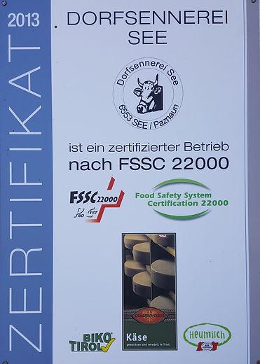 FSSC Zertifikat - Dorfsennerei See im Paznaunal