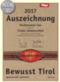 Auszeichnung Bewusst Tirol - Dorfsennerei See