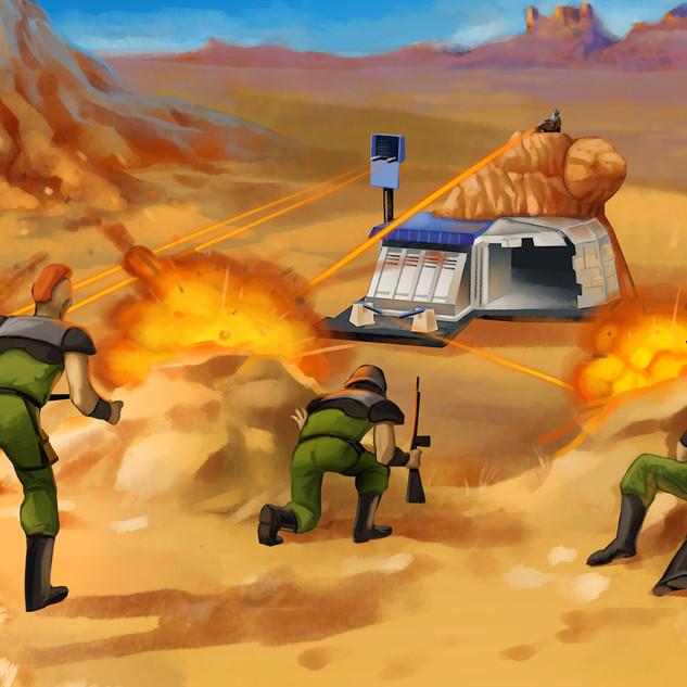 Base et soldats by McFly-Illustration