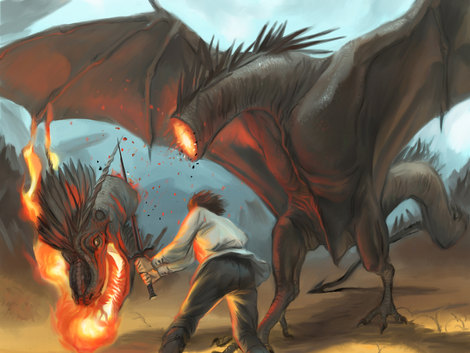 Speed Painting Le héros térrassant le dragon by McFly-Illustration