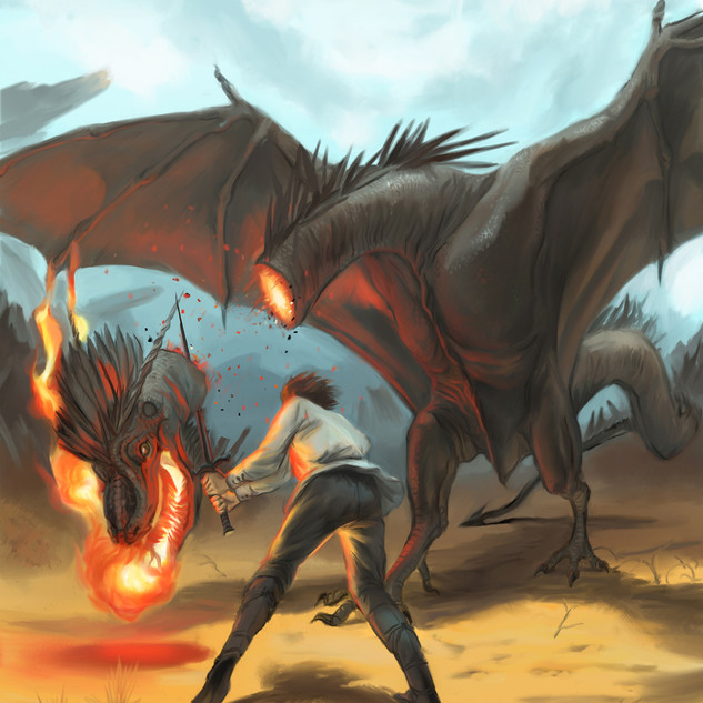 Le héros térrassant le dragon by McFly-Illustration