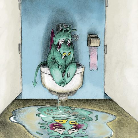 illustration livre d'enfants : Griffon le dragon est triste by Mcfly-Illustration