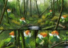 Illustration forêt nature enfant grenouille