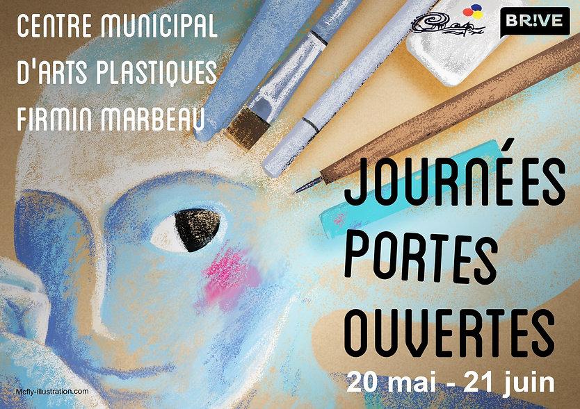 Affiche portes ouvertes école d'Art dessin Pastel