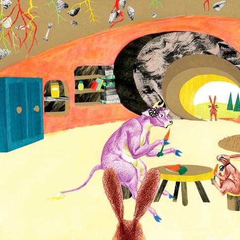 Dessin illustration : Vache mène l'enquête chez les lapins by Mcfly-Illustration