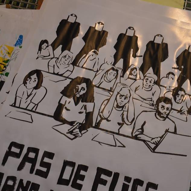 Pas de flics dans nos amphis by McFly-illustration