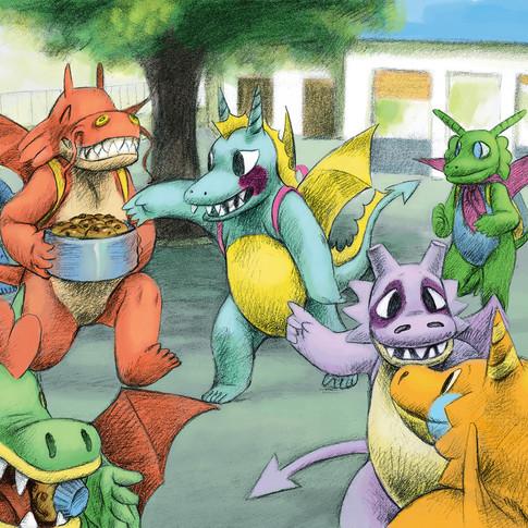 illustration livre d'enfants : cour de récréation des dragons by Mcfly-Illustration