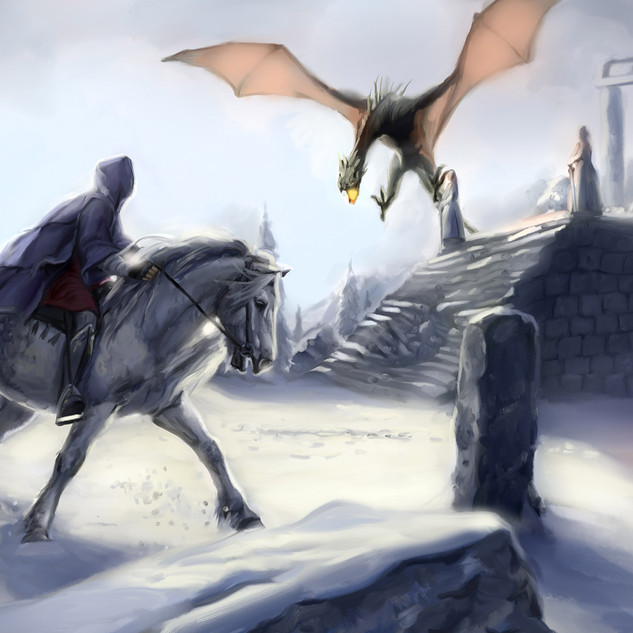 Dragon et neige by McFly-illustration