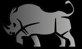 Logo dessin vectoriel rhinocéros gris furieux by McFly-illustration