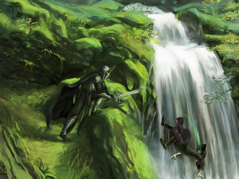 Speed Painting Duel sur la cascade by McFly-Illustration
