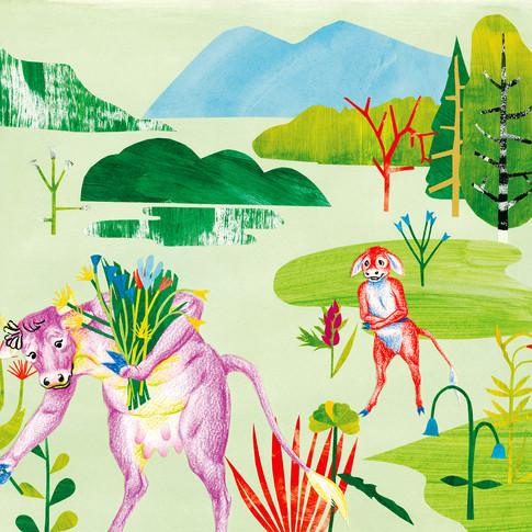 Dessin illustration enfants vache fleurs nature by McFly-illustration