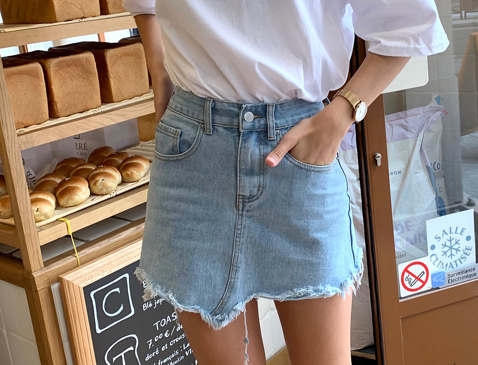 Bleach Denim Mini Skirt