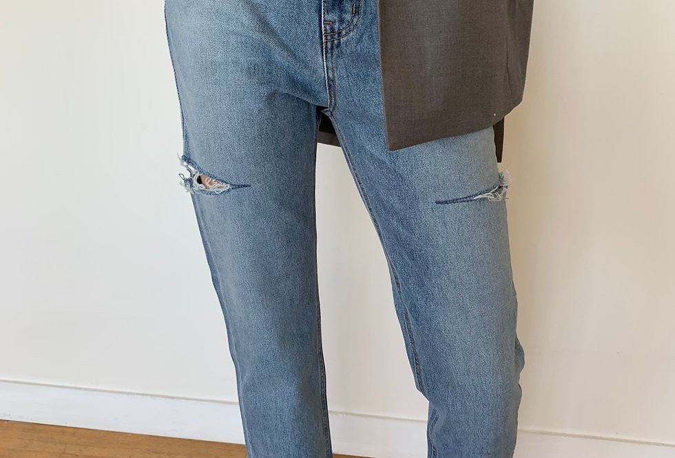 Mid Blue Ripped Jeans