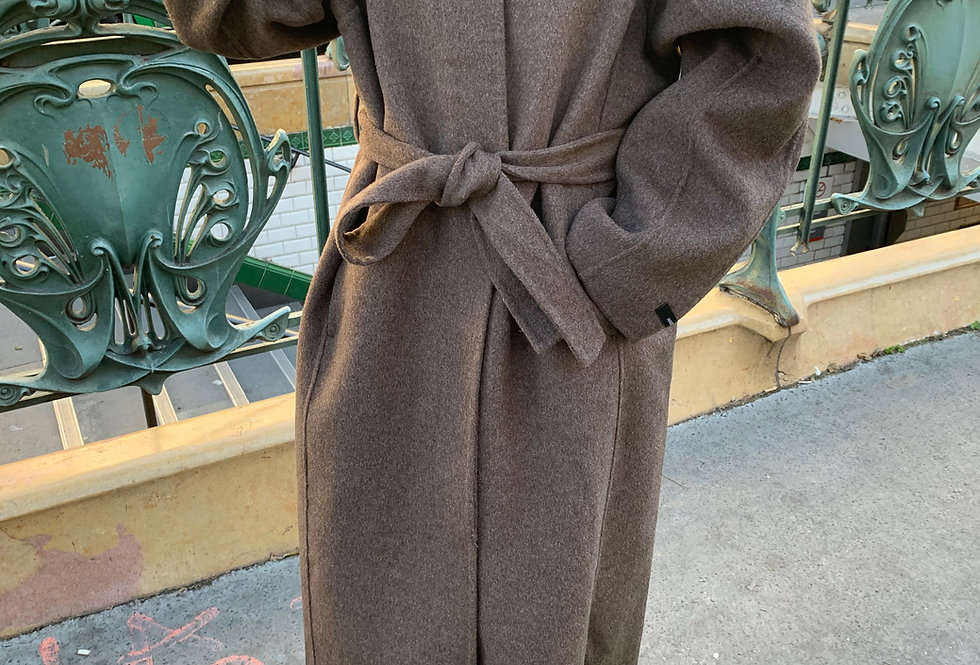Chocolate Belted Wool Coat