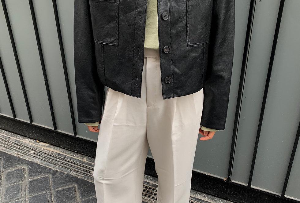 Pocket Faux Leather Jacket (2colors)